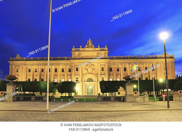 Parliament House at Night, Stockholm, Sweden