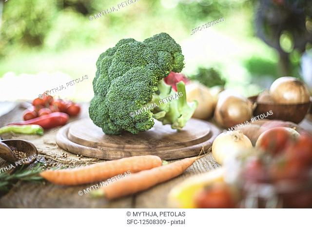 Organic vegetables in rustic setting