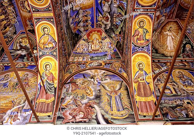 Frescoes or Wall Paintings in Narthex of Church Great Lavra Monastery Mount Athos Greece