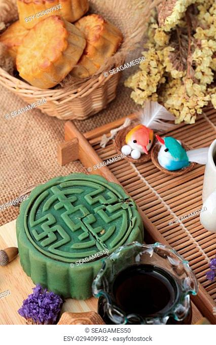 Festival moon cake - china dessert with green tea