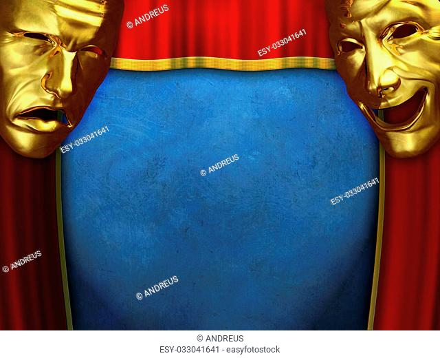 Sad and happy masks over opening curtains. Digital illustration