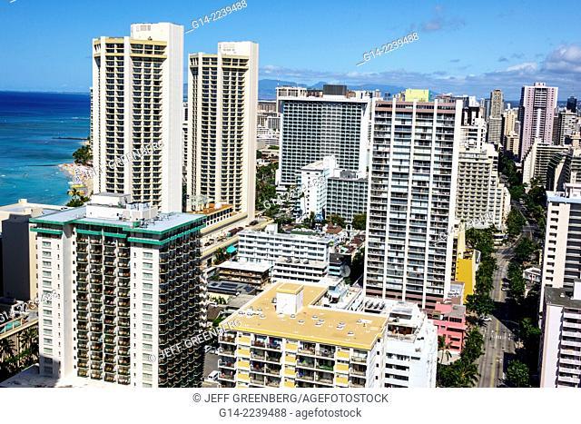 Hawaii, Hawaiian, Honolulu, Waikiki Beach, Pacific Ocean, resort, high rise building, hotels, condominium buildings