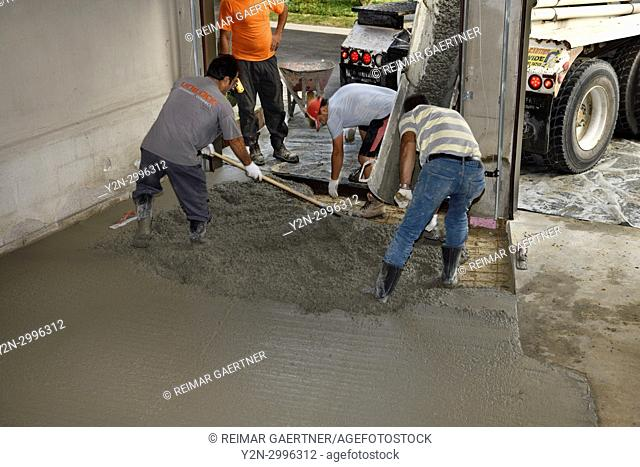 Work crew pouring cement from a cement truck shute over wire mesh on a residential garage floor and spreading with shovel and rake Toronto Ontario Canada