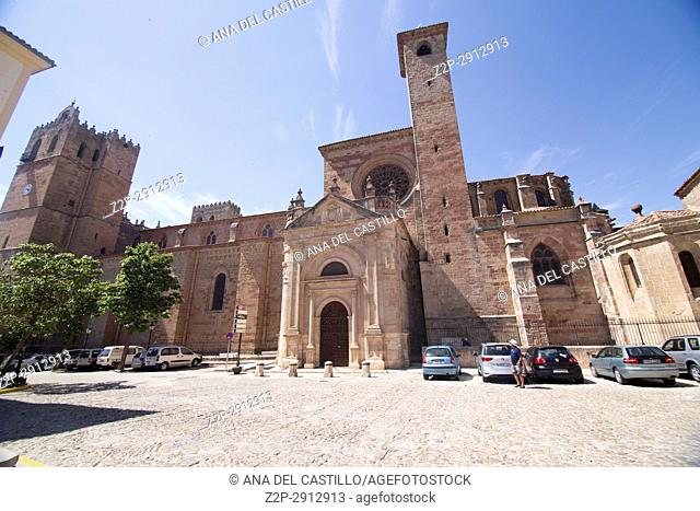 Cathedral in Siguenza is a medieval village in Guadalajara Castile La Mancha Spain on June 13, 2017