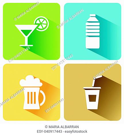 Summer drinks icons with shadow on a white background. Vector illustration