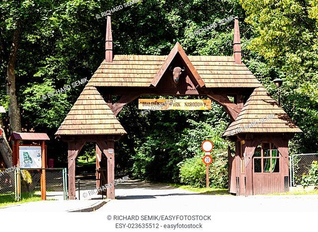 gate of Bialowieski national park, Podlaskie Voivodeship, Poland