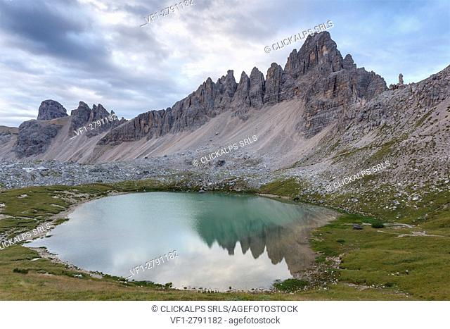 Europe, Italy. Laghi dei Piani (Bodenseen) and Mount Paterno at dawn, Sesto Dolomites, South Tyrol