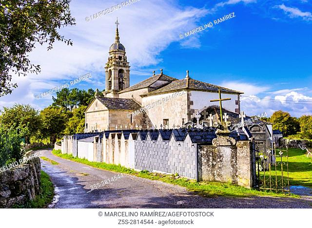 Church and cemetery of Santa Maria de Muxa, parish in the municipality of Lugo, in the province of Lugo. Galicia, Spain, Europe