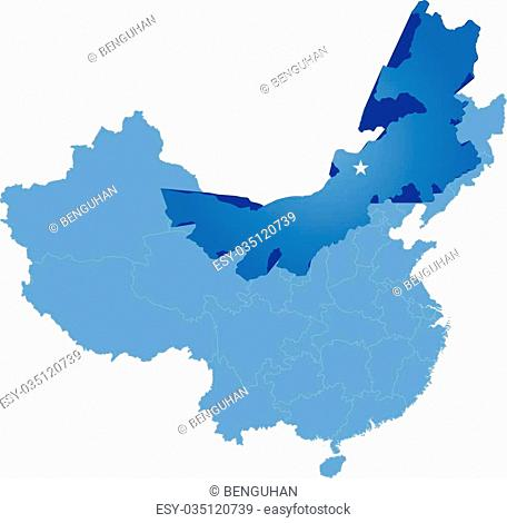 Map of People's Republic of China where Inner Mongolia Autonomous Region province is pulled out