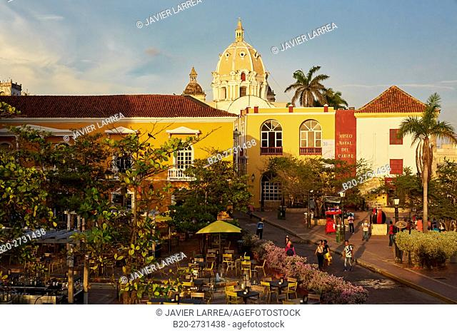 Plaza Santa Teresa, San Pedro Claver Church, Cartagena de Indias, Bolivar, Colombia, South America