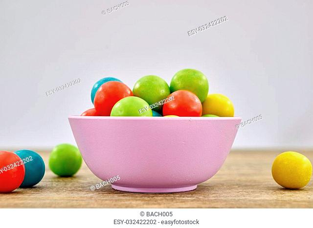 A studio photo of a gum ball candy