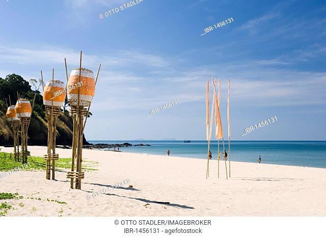 Lanterns on the sandy beach, Kantiang Beach, Ko Lanta or Koh Lanta island, Krabi, Thailand, Asia