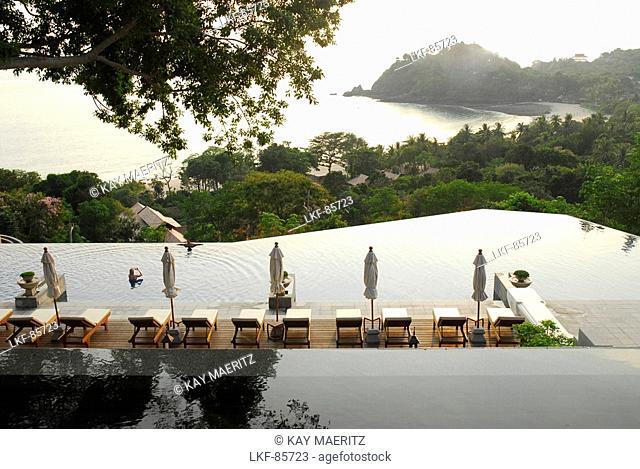 Pool and view to the sea, Hotel Pimalai, Ao Kantiang, Ko Lanta, Krabi, Thailand