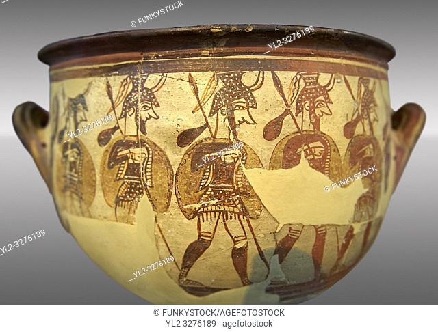 """Large wine krater known as """"""""House of the Warrior Vase"""""""", showing men in full armour ( helmet, cuirass, greaves, shield and spear ) as they depart fro war with..."""
