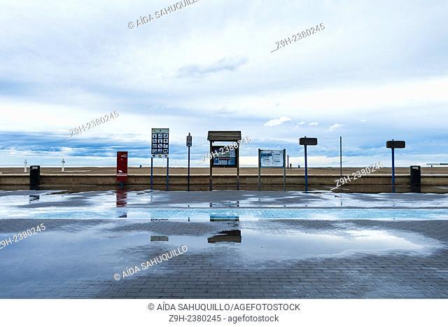 Malvarrosa's beach in January Valencia, Spain