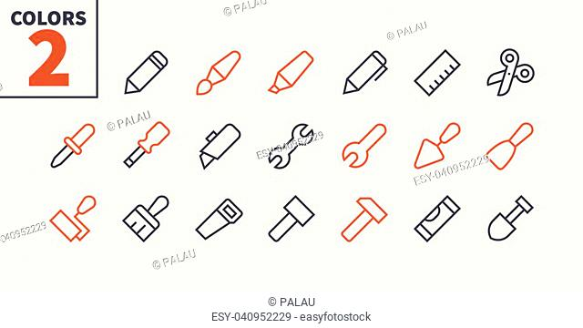 Tools Pixel Perfect Well-crafted Vector Thin Line Icons 48x48 Ready for 24x24 Grid for Web Graphics and Apps with Editable Stroke