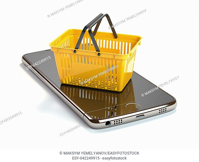 Mobile phone or smartphone with yellow shopping basket. Online shopping concept. 3d illustration