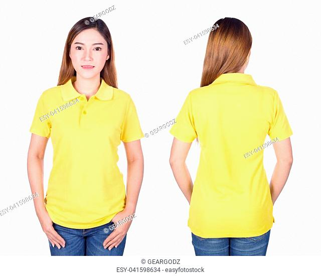 woman in yellow polo shirt isolated on a white background
