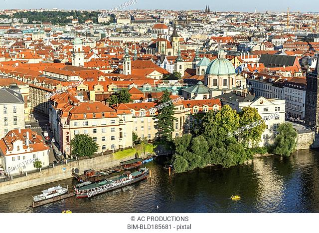 Aerial view of Prague cityscape, Prague, Czech Republic