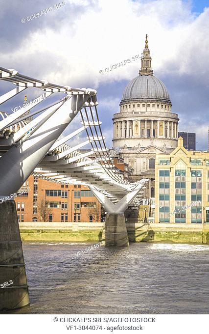 St Paul cathedral and the Millennium Bridge. London city, London, United Kingdom