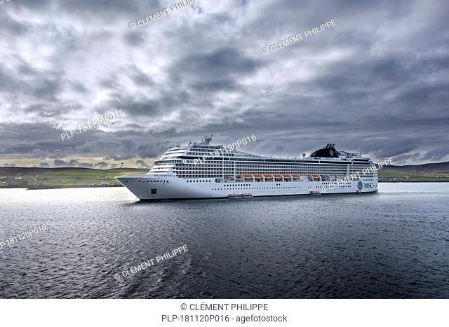 MS MSC Orchestra, cruise ship from MSC Cruises leaving Lerwick harbour, Shetland Islands, Scotland, UK