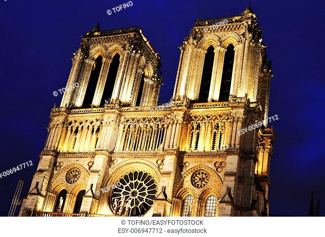 Notre-Dame Cathedral in Paris, France after sunset