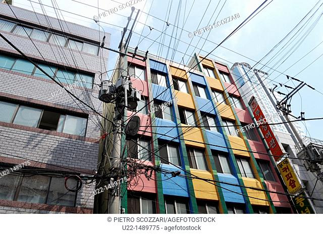 Busan (South Korea): colorful condo and electric wires mess in Nam-gu neighborhood