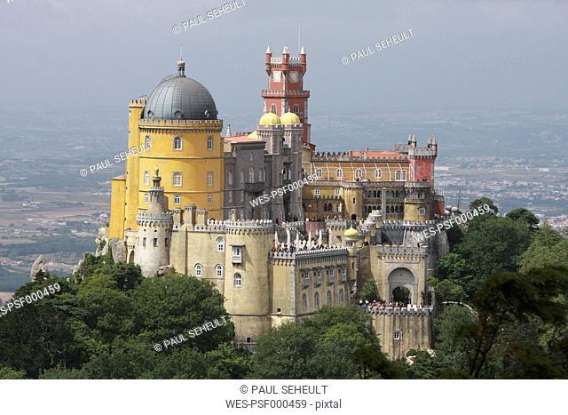 Portugal, Estremadura, Sintra, View of pena national palace