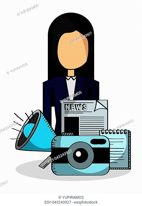 business woman speaker camera and news vector illustration
