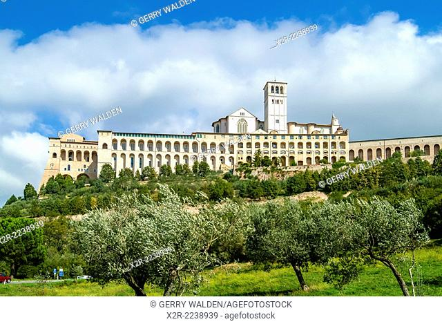 The Basilica of St. Francis in Assisi in Umbria, Italy