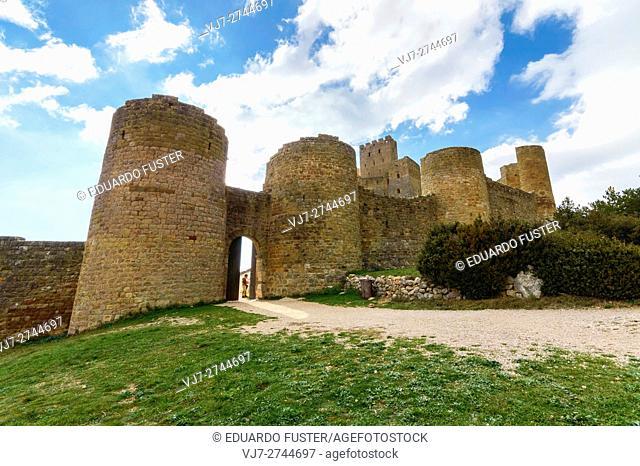 Main entrance in the Walls of Loarre's Castle in Huesca (Aragon, Spain)