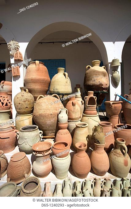 Tunisia, Jerba Island, Guellala, locally produced pottery for sale