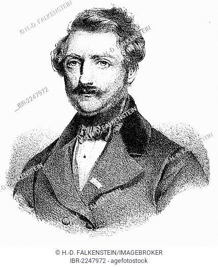 Historical drawing, portrait of Domenico Gaetano Maria Donizetti, 1797-1848, Italian composer, opera composer of the Bel-Canto