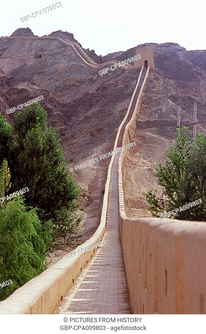 China: The Overhanging Great Wall (Xuanbi Changcheng) 8km northwest of Jiayuguan Fort marks the western edge of the Great Wall of China
