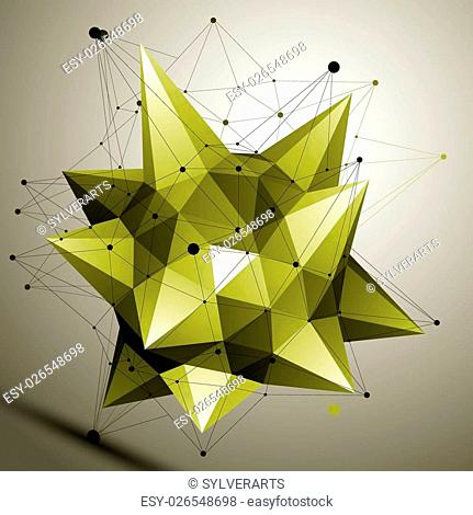 3D vector abstract design object, polygonal complicated figure. Bright deformed shape, render