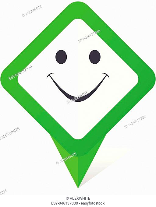 Smile green square pointer vector icon in eps 10 on white background with shadow
