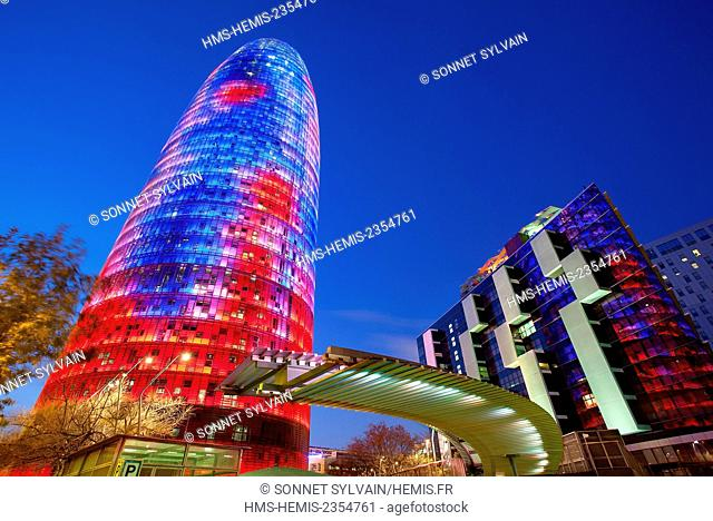 Spain, Catalonia, Barcelona, Torre Agbar (Agbar Tower)