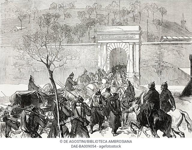 The Germans entering Mont-Valerien fortress, France, Franco-Prussian War, illustration from the magazine The Illustrated London News, volume LVIII, February 11