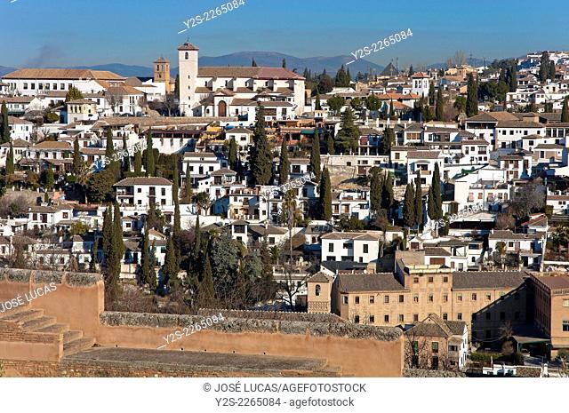 Albaicin quarter from the Alhambra, Granada, Region of Andalusia, Spain, Europe