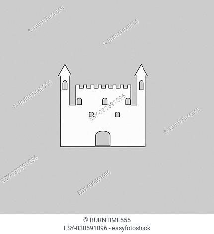 Castle Simple line vector button. Thin line illustration icon. White outline symbol on grey background