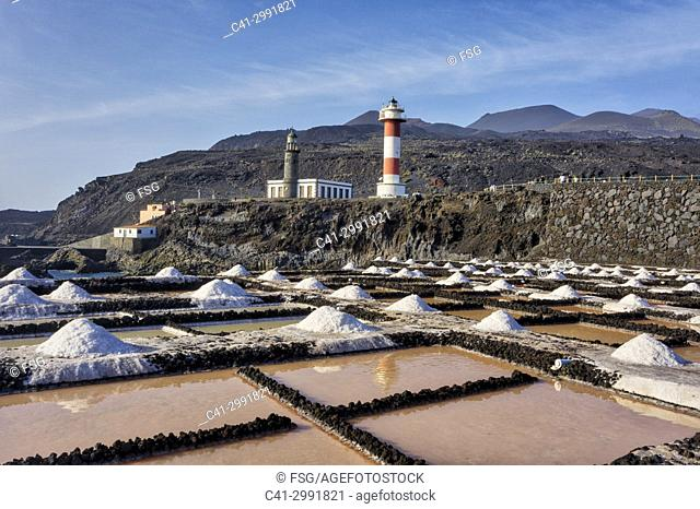 Faro de Fuencaliente and Salinas de Fuencaliente. La Palma. Canary Islands. Spain