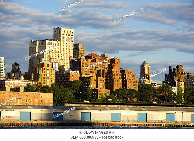 Buildings at the waterfront, Brooklyn, Hudson River, New York City, New York State, USA