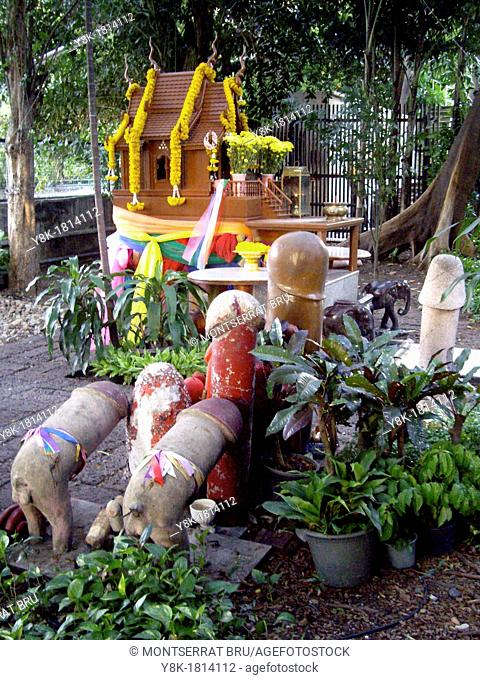 Phallic shape offering at fertility shrine in Bangkok, Thailand