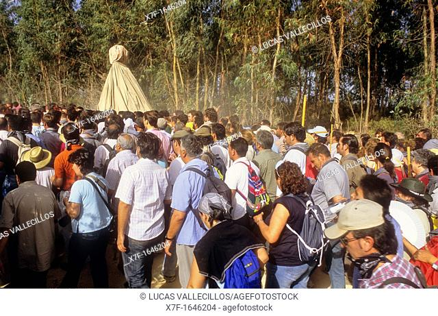 El Rocío Romería pilgrimage,Special procession,once every seven years the virgin of el Rocío travels from El Rocío to Almonte where he spends a few months