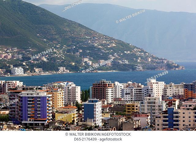 Albania, Vlora, elevated city view