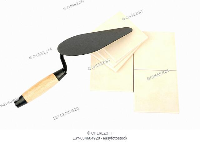 Set of tiles with pallet-knife isolated on white background