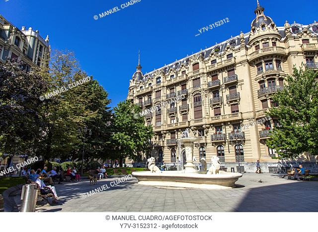 Building by architect Gregorio Ibarreche in Plaza Jado. Bilbao, Biscay, Basque Country, Spain