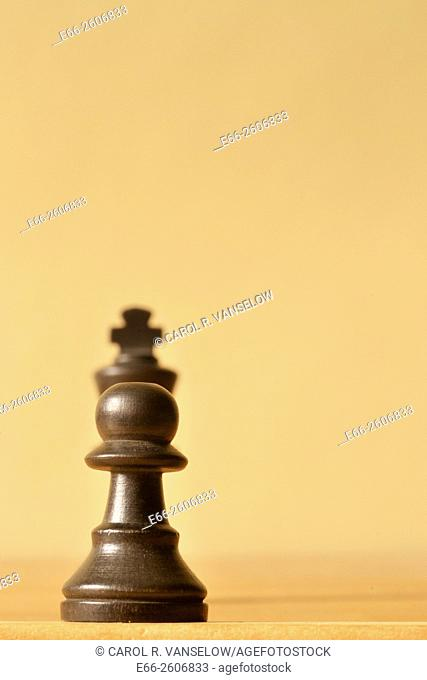 Pawn confronting a king. Both pawn and king are dark wood. Shot with shallow depth of field