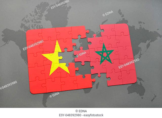 puzzle with the national flag of vietnam and morocco on a world map background. 3D illustration