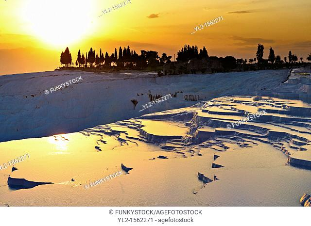 Photo & Image of Pamukkale Travetine Terrace, Turkey, at sunset  Images of the white Calcium carbonate rock formations  Buy as stock photos or as photo art...